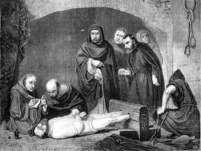 Ilustrace zachycující inkviziční proces