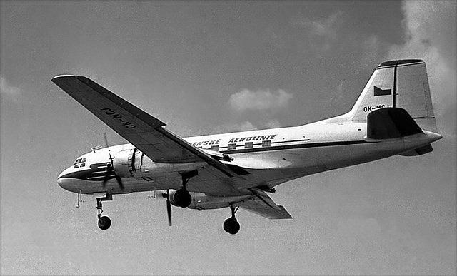 Avia Av-14 s imatrikulací OK-MCJ - toto letadlo se zřítilo u Ptic