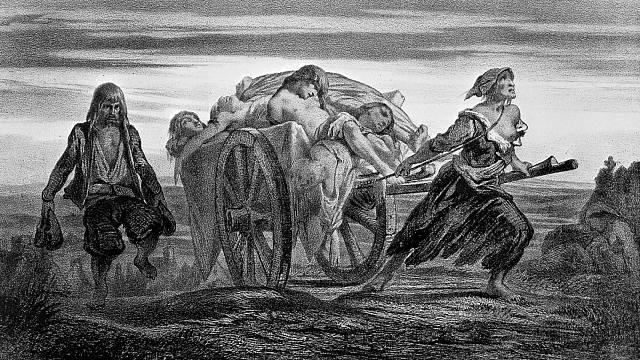 Oběti moru svážené na kárách do masových hrobů.