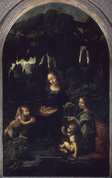 Obraz Madony ve skalách namaloval umělec ve dvou variantách. Tato je v Louvru