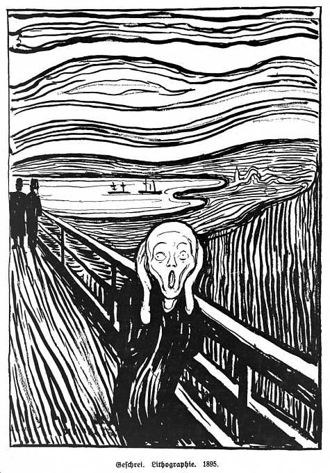 Litografie Munchova obrazu zdůraznila linie vytvářející dojem zvuku