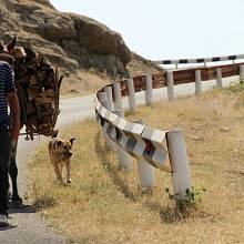 Muž nedaleko města Stěpanakert v Náhorním Karabachu
