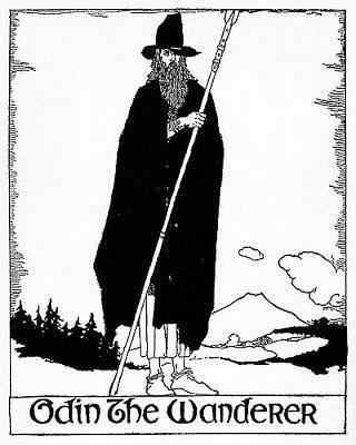 Tradiční podoba severského boha Ódina v jeho poutnické podobě