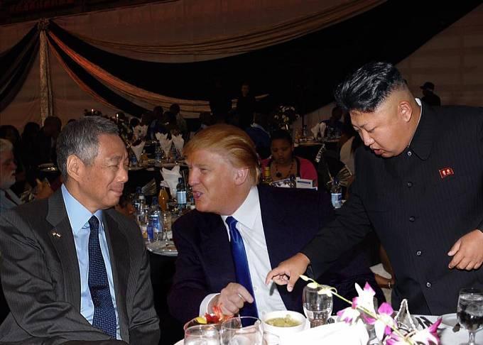 Trump na večírku s Kimem Čong-unem