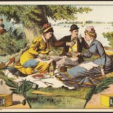 Reklama z konce 19. století na nakládanou zeleninu Lilly Brandové