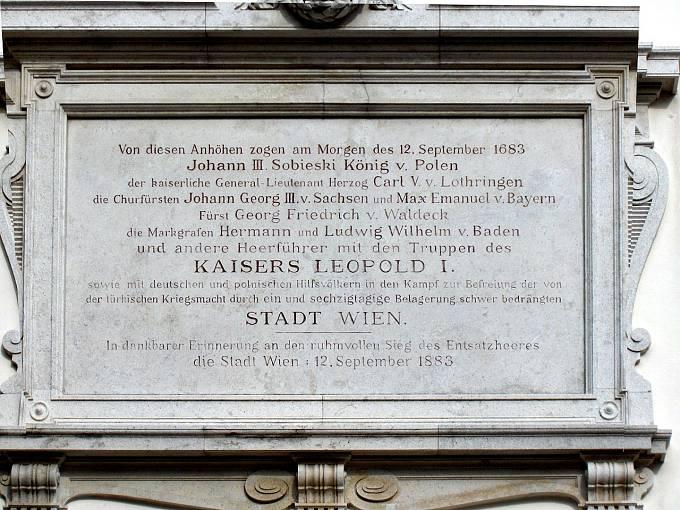 Pamětní deska bitvy u Vídně na Kahlenbergu nedaleko Vídně.