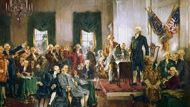 Podepisování Ústavy USA.