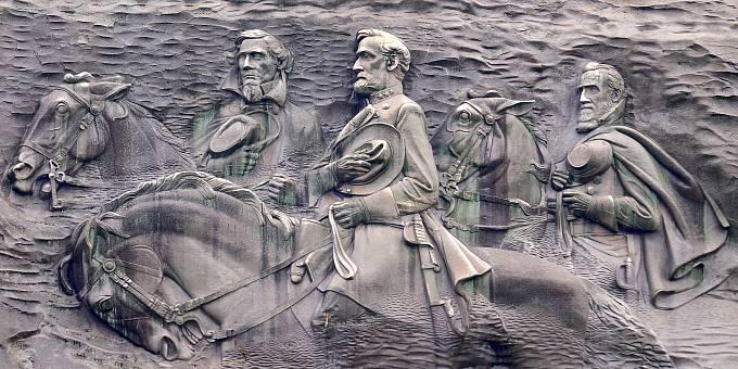 Jefferson Davis na rytině v hoře Stone Mountain