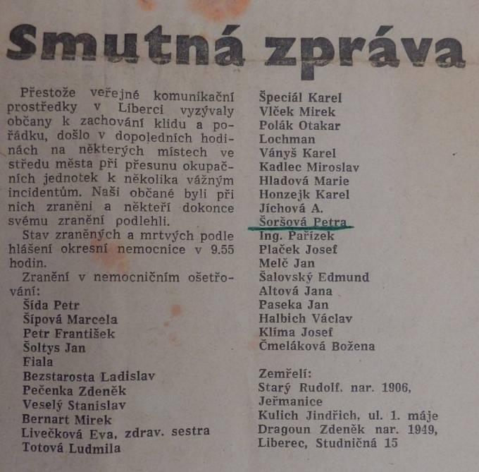 Seznam raněných a zemřelých v dopoledních hodinách 21. 8. 1968 v Liberci (dopolední vydání deníku Vpřed z 21. 8. 1968 v Liberci)