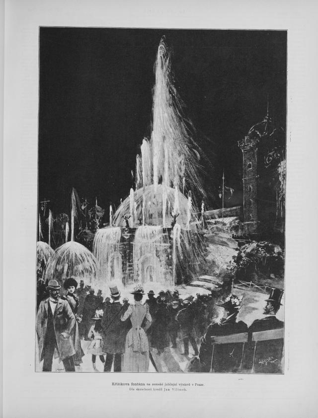 Křižíkova světelná fontána se stala hlavní atrakcí Jubilejní zemské výstavy vroce 1891