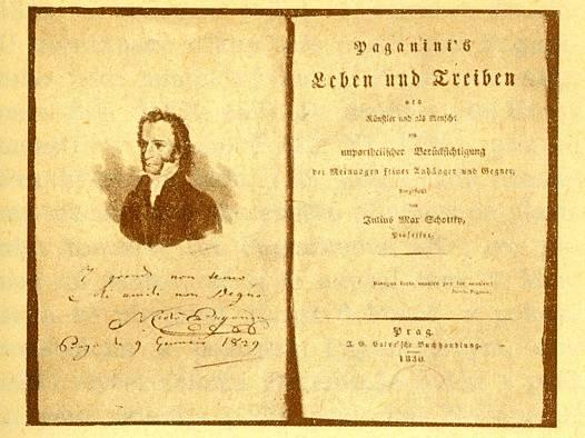 Paganiniho životopis vydaný v Praze roku 1830 (s umělcovým podpisem)