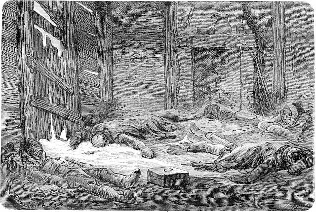 Holanďané umírající na kurděje ve Špicberkách, otištěno vLe Tour du Monde, Travel Journal, (1865)