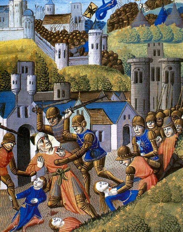 Násilí na civilistech ze strany vojáků bylo ve středověku běžné.