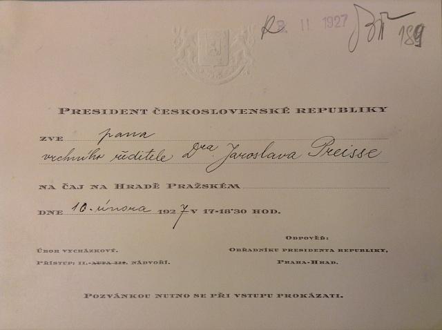 Jaroslava Preisse a prezidenta T. G. Masaryka pojila vzájemná úcta a respekt