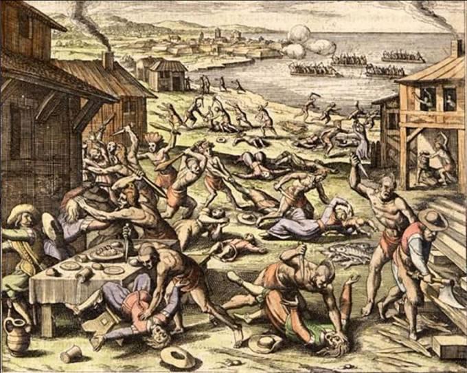 V roce 1622 indiáni Powhatani zaútočili na Jamestown.