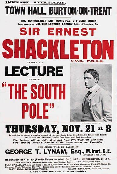 Pozvánka na jednu ze Shackletonových přednášek