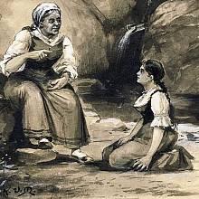 Viktorka naslouchající babičce. Ilustrace Kamila Vladislava Mutticha - Babička III