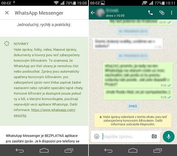 Vaše zprávy jsou teď šifrovány - screenshot zaplikace WhatsApp upozorňující na vyšší zabezpečení konverzace.