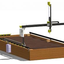 Farmbot funguje jako 3D tiskárna, která netiskne z plastu, ale tryskou vytlačuje semena nebo vodu.