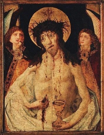 Obraz vytvořený kolem roku 1470pro hlavní pražský utrakvistický kostel Matky Boží před Týnem zobrazuje Krista Bolestného, jak sám sebe veucharistii dává pod obojí způsobou (zboku vytahuje hostii, do kalicha stéká jeho krev).