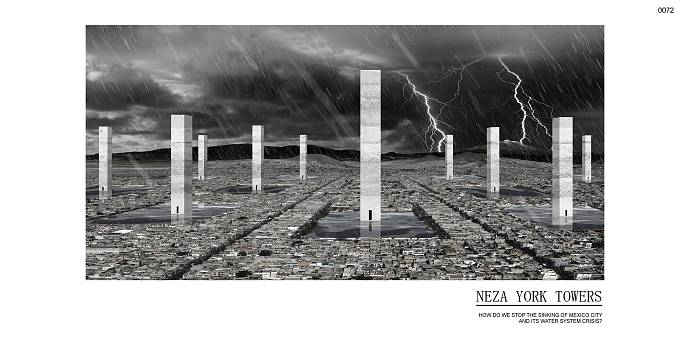 Obrovské věže by měly fungovat jako výškové rezervoáry pro vodu. Pro případ déletrvajícího sucha nebo jako pojistka proti zaplavení ulic. (Čestné uznání)