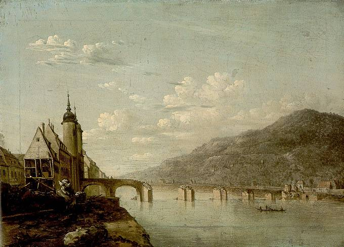 Povodeň roku 1784 zasáhla řadu evropských měst. Takhle vypadal Heidelberg