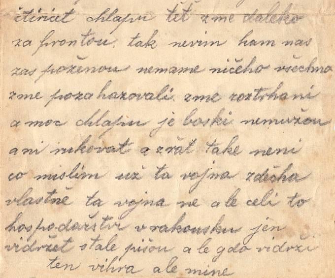 Část Tomášova dopisu, ve které popisuje tristní stav jednotky po prohrané bitvě