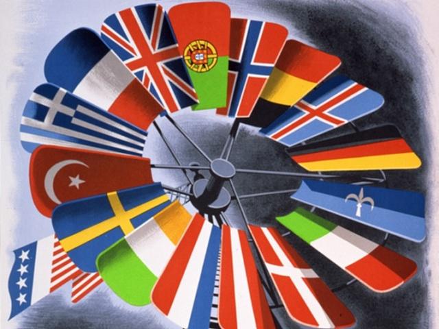 Plakát propagující Marshallův plán. Československá vlajka na něm bohužel chybí.