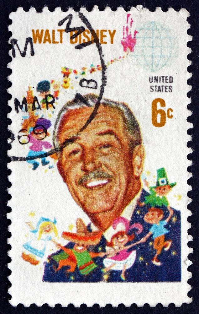 Filmový producent, režisér, scenárista, animátor a filantrop Walt Disney, zakladatel dnešní Walt Disney Company, se vroce 1968dostal ise svými figurkami na poštovní známku.