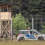 Strážní věž na srbsko-maďarské hranici. Září 2016.
