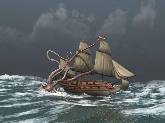 Kraken prý uměl potopit obrovskou loď.