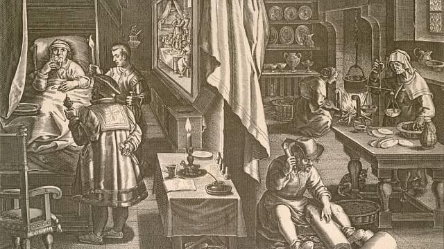 Příprava léku pro pacienta trpícího syfilidou v roce 1570