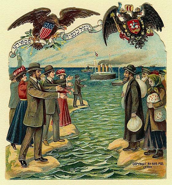 Plakát znázorňující příchod ruských židovských imigrantů do USA (1909)