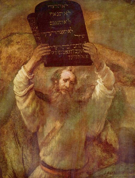 Mojžíš s Desaterem na Rembrandtově obraze z roku 1659