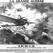 Dobová kresba zachycující první vzdušné střetnutí mezi Josephem Frantzem a Wilhelmem Schlichtingem