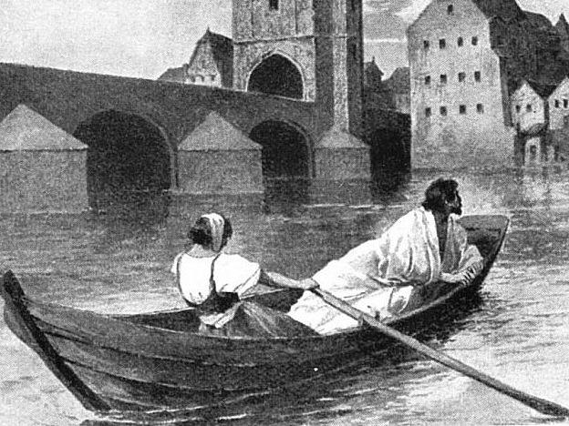 Václav IV. a lazebnice Zuzana na romantickém vyobrazení