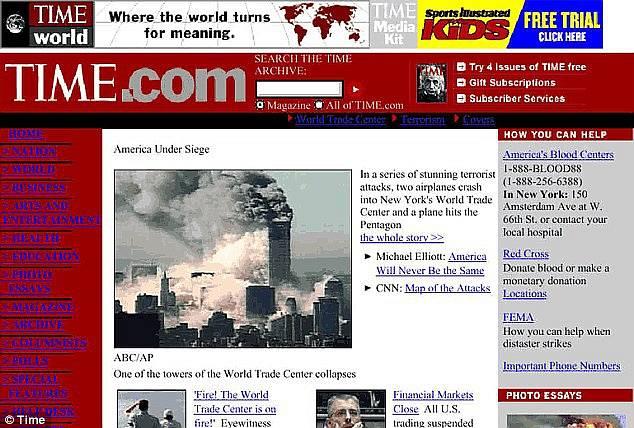 Webová stránka magazínu Time