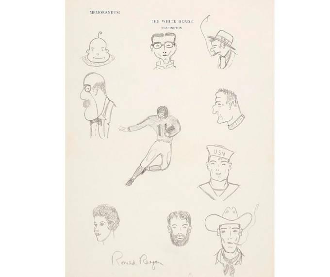 Skica tužkou, podepsáno Ronald Reagan. Odhadní cena 3500 USD, prodáno za 100 000 USD.