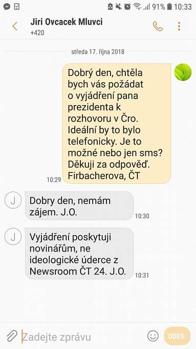 Reakce mluvčího prezidenta Jiřího Ovčáčka na dotaz České televize
