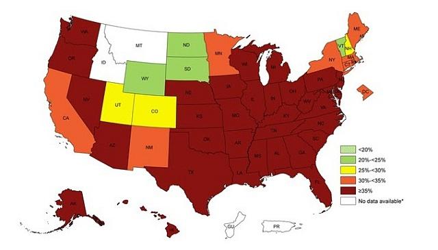 Podíl obézních lidí vUSA mezi dospělými Afroameričany podle jednotlivých států. Údaje za roky 2012až 2014
