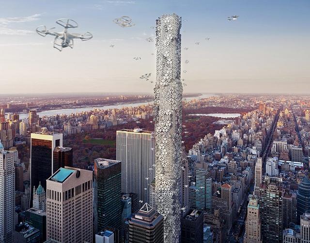 The Hive - de facto vertikální garáž a dokovací místo pro bezpilotní drony. (2.místo)
