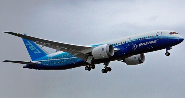 Boeing 787Dreamliner při svém prvním letu vroce 2009.