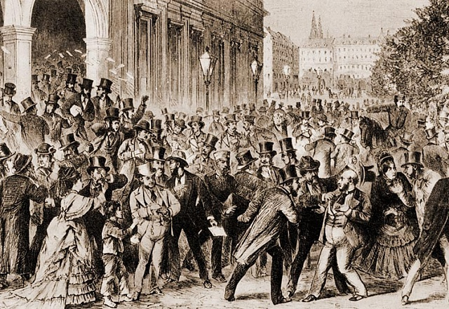 Krize na Vídeňské burze 9.května 1873odstartovala těžký útlum železářství, stavby železnic a bankovnictví