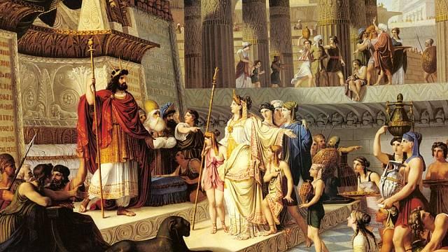 Král Šalamoun přijímá královnu ze Sáby