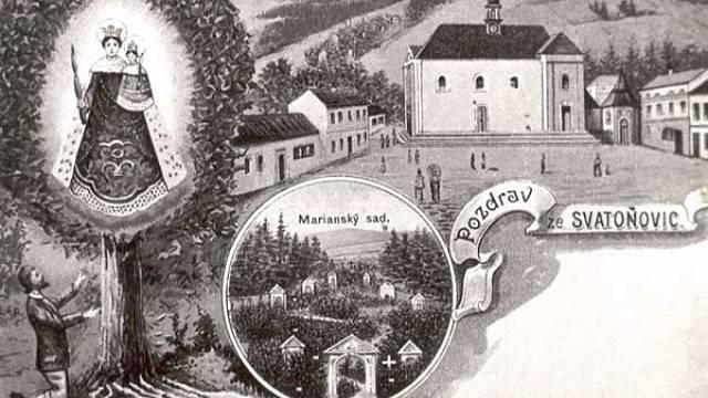 Poutní místo Malé Svatoňovice na dobové pohlednici