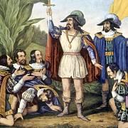 Kryštof Kolumbus na americkém břehu, malba: Currier & Ives, 1846