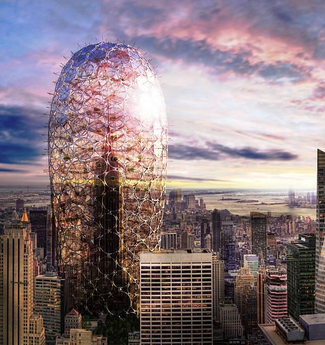 Obal kolem Empire State Building by měl symbolizovat moderní architekturu, ale zároveň staré budově umožnit, aby z ekologického hlediska mohla koexistovat přirozeně s okolím. (Čestné uznání)