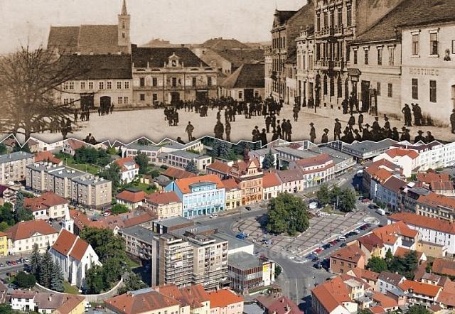Měšťanské domy na náměstí vSedlčanech nahradilo v70. letech 20.století nákupní centrum Rozvoj.