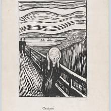 Slavný černobílý tisk Munchova obrazu, který obsahuje malířovu ručně psanou poznámku o výkřiku přírody