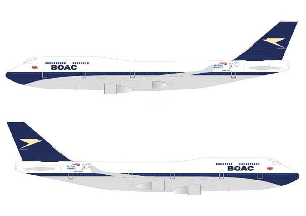 Vizualizace retro nátěru BOAC na Boeingu 747-400 aerolinek British Airways.